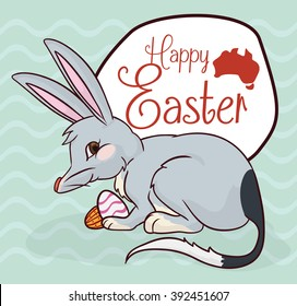 Mischievous bilby with some chocolate eggs in Australian Easter celebration and greeting sign.