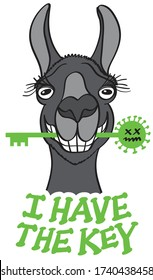 "Mischievous black llama posing and grinning while holding a green key with its teeth. It feels proud of having the key in the fight against coronavirus and say it through a text "" I have the key"""