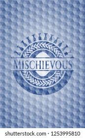 Mischievous blue emblem with geometric background.