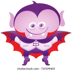 Mischievous boy smiling, posing and wearing a Dracula costume. This Dracula costume has elegant hairstyle, pointy ears, sharp fangs, cape, gloves, nice jacket and boots