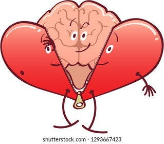 Mischievous cartoon brain getting rid of its red heart costume by unzipping it and revealing its true identity