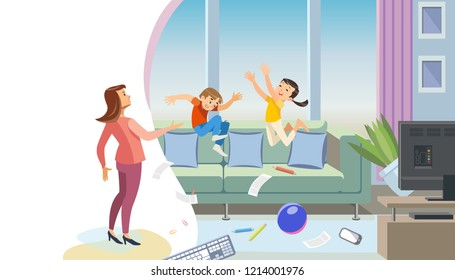 Mischievous Children Making Mess in Home Cartoon Vector Concept. Angry Mother Scolding Naughty Son and Daughter Jumping on Sofa, Scattering Things in Living Room. Kids Bad Behavior, Poor Discipline