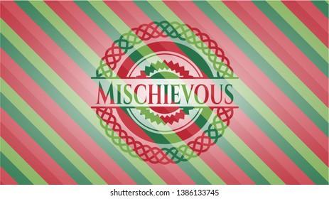 Mischievous christmas badge. Vector Illustration. Detailed.