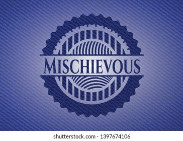Mischievous emblem with jean background. Vector Illustration. Detailed.