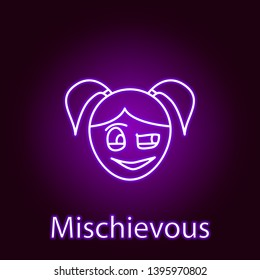 mischievous girl face icon in neon style. Element of emotions for mobile concept and web apps illustration. Signs and symbols can be used for web, logo, mobile app, UI, UX