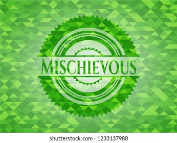 Mischievous green emblem with triangle mosaic background
