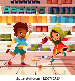 Mischievous kids playing with food in supermarket cartoon vector illustration. Rowdy indian boy with candy and girl in saree unpacking sweets, scattering goods on floor in grocery. Childish pranks