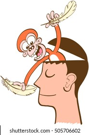 Mischievous monkey going out of the head of a man in meditation. The monkey is smiling and having fun while attempting to tickle the man's nose. The man keeps half-smiling, imperturbable, peaceful