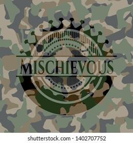Mischievous on camouflage pattern. Vector Illustration. Detailed.