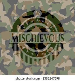 Mischievous on camouflaged pattern. Vector Illustration. Detailed.