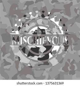 Mischievous on grey camouflage texture