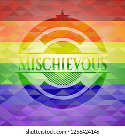 Mischievous on mosaic background with the colors of the LGBT flag