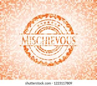 Mischievous orange mosaic emblem with background