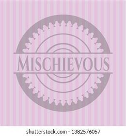 Mischievous pink emblem. Vintage. Vector Illustration. Detailed.
