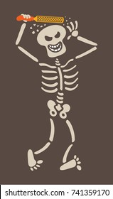 Mischievous skeleton rasping its own skull and acting as if it was getting its hair styled. It is laughing mischievously and walking while having lots of fun