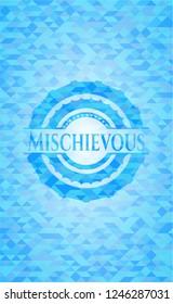 Mischievous sky blue mosaic emblem