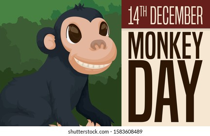 Mischievous, smiling chimp in the forest and loose-leaf calendar to commemorate Monkey Day celebration in December 14.