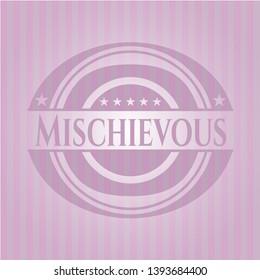 Mischievous vintage pink emblem. Vector Illustration. Detailed.