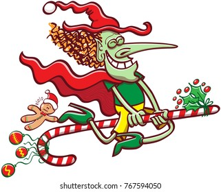 Mischievous witch clenching her eyes, smiling and wearing red and green clothes while flying on a Christmas candy cane, exhibiting baubles and ornaments and taking a cookie man for a ride