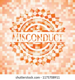 Misconduct abstract orange mosaic emblem with background