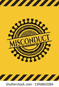 Misconduct black grunge emblem, yellow warning sign. Vector Illustration. Detailed.