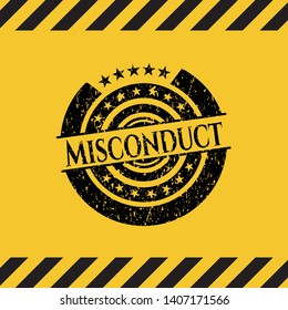 Misconduct black grunge emblem with yellow background. Vector Illustration. Detailed.