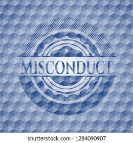 Misconduct blue emblem or badge with abstract geometric polygonal pattern background.