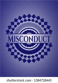Misconduct with denim texture. Vector Illustration. Detailed.
