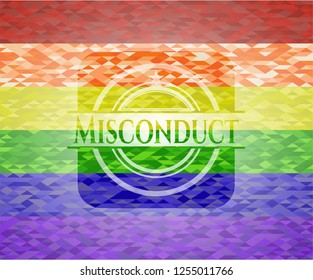 Misconduct emblem on mosaic background with the colors of the LGBT flag
