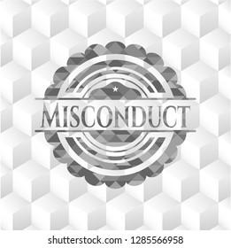 Misconduct grey emblem with geometric cube white background