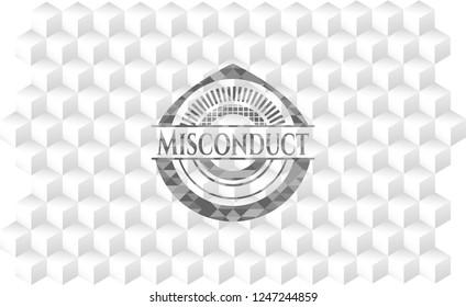 Misconduct grey emblem. Vintage with geometric cube white background