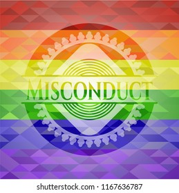Misconduct on mosaic background with the colors of the LGBT flag