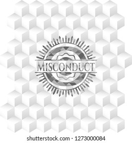 Misconduct realistic grey emblem with geometric cube white background