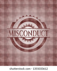 Misconduct red seamless emblem with geometric background.