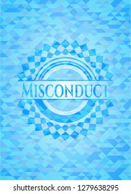 Misconduct sky blue emblem with triangle mosaic background