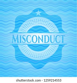 Misconduct sky blue water wave badge.