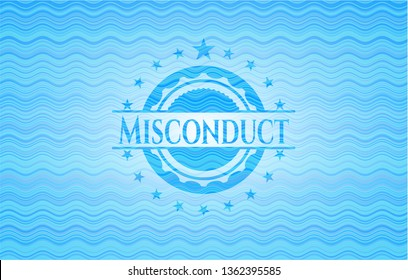 Misconduct water wave representation badge background.