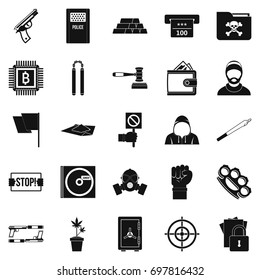 Misdemeanor icons set. Simple set of 25 misdemeanor vector icons for web isolated on white background