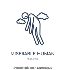 miserable human icon. miserable human linear symbol design from Feelings collection. Simple outline element vector illustration on white background.