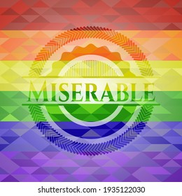 Miserable lgbt colors emblem. Vector Illustration. Mosaic.