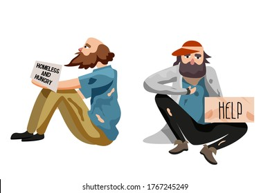 Miserable pauper set. Poor beggar, miserable pauper sitting isolate on white background. Street hungry homeless person asking for help and food vector. Jobless vagrant, refugee man illustration
