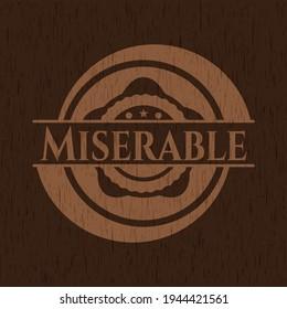 Miserable wooden emblem. Retro. Vector Illustration.