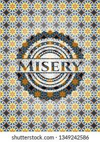 Misery arabic style emblem. Arabesque decoration.