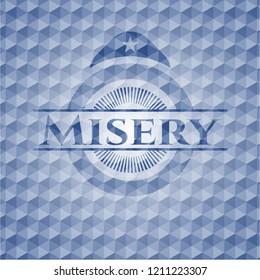 Misery blue polygonal badge.