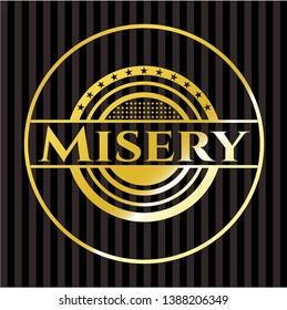 Misery golden emblem. Vector Illustration. Detailed.