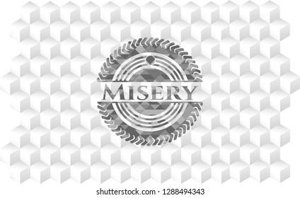 Misery grey emblem with geometric cube white background