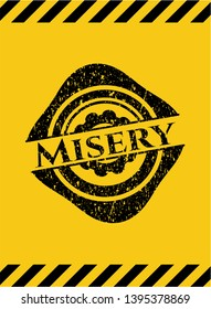 Misery grunge black emblem with yellow background, warning sign. Vector Illustration. Detailed.