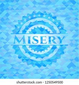 Misery light blue emblem with triangle mosaic background