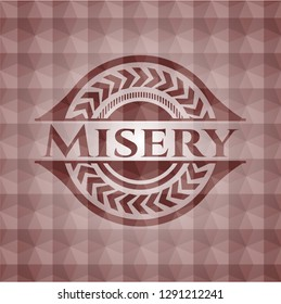 Misery red geometric badge. Seamless.