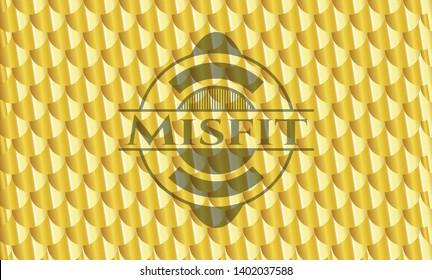Misfit golden emblem. Scales pattern. Vector Illustration. Detailed.